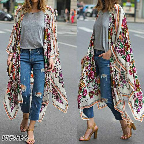 Women Loose Floral Print Blouse Summer Casual Boho Chiffon Coat Shawl Kimono Cardigan Tops Plus Size 3XL - EM