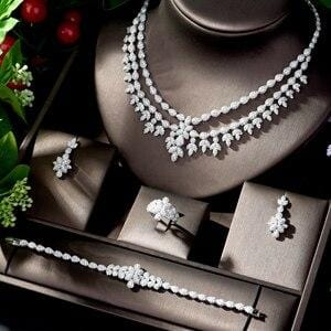 HIBRIDE Charm Dubai Jewelry Sets Nigerian Wedding African Beads Crystal Bridal Jewellery Set Ethiopian Jewelry Parure 4pcsN-1225