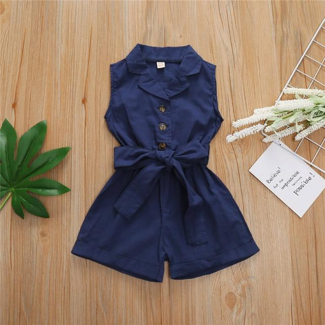 2020 Summer Ins Baby Girls Dress Clothes Sleeveless Bow-tie Waist Romper Jumpsuit Overalls Shorts Outfits Children's Clothes