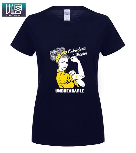 Endometriosis Warrior Unbreakable T Shirt Awareness Gift Amazing Short Sleeve Unique Casual Tees 100% Cotton Clothes T Shirt - EM