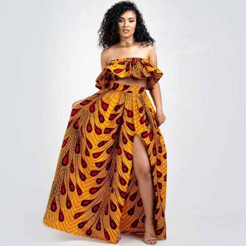 African Clothes 2020 News Dashiki Print Party Shoulder Off Ladies Sling Skirts Africa Dresses For Women Bazin Ankera Long Robe - EM