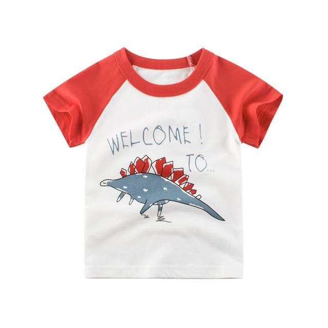 Boys & Girls Cartoon T-shirts Kids Dinosaur Print T Shirt For Boys Children Summer Short Sleeve T-shirt Cotton Tops Clothing - EM