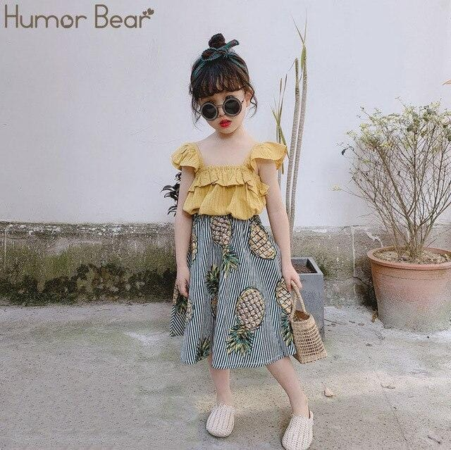 Humor Bear Girls Clothing Set 2020 Korean Summer New Ice Cream Bow Top T-shirt+Pants Kids Suit Toddler Baby Children's Clothes