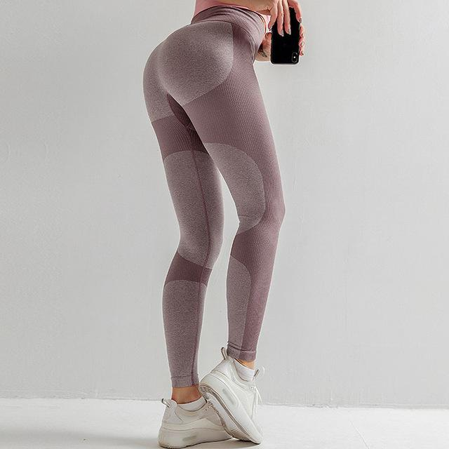 NORMOV Fashion Women Leggings Skinny Color Block Patchwork Push Up Ankle Length Leggings Fitness High Elastic Waist Leggins - EM