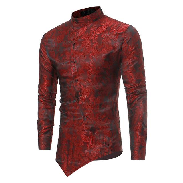 2020 Men Africa Riche Bazin Shirts African Style Fashion Oblique Button Dashiki Long Sleeve Irregular Fit T-shirts for Man - EM