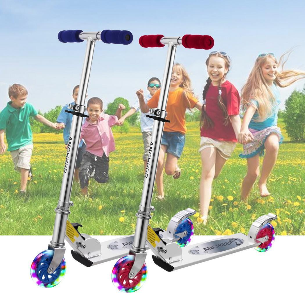 Children Scooter  Flashing Wheel Music Function Kids Outdoor Sport Toy 2 Wheel Kick Scooter Foot Scooter Skateboard - EM
