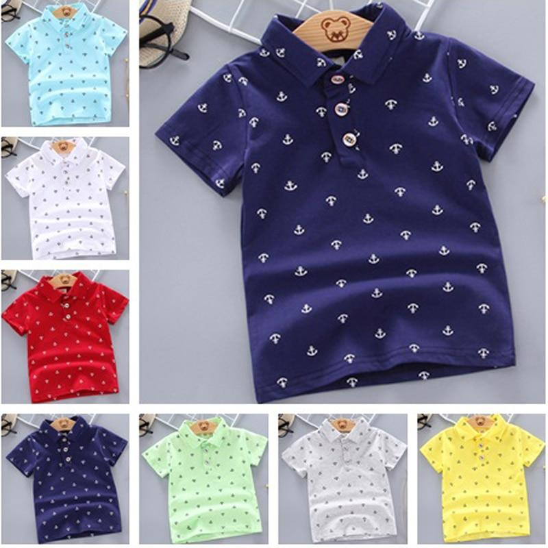 2020 Summer Baby Boys Polo Shirt Short Sleeve Anchor Lapel Clothes for Girls Odale Cotton Breathable Kids Tops Outwear 12M-5Y - EM