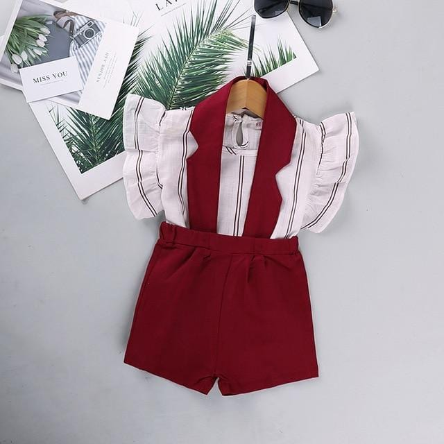 HE Hello Enjoy Baby Girls Summer Clothes Sets 2020 Dot Flying Sleeve Shirt+Pink Strap Dresses+Headband Kids Children Clothing