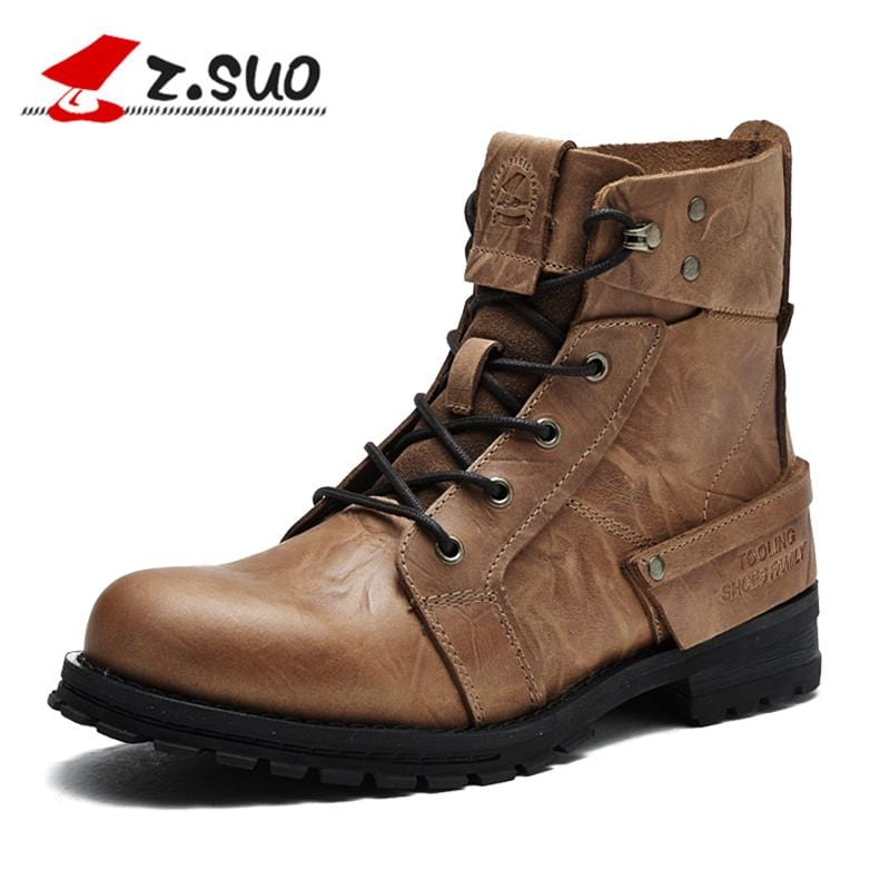 Z. Suo men boots. Head layer cowhide leisure fashion man  boots, leather with retro men's boots, botas hombre zs15168