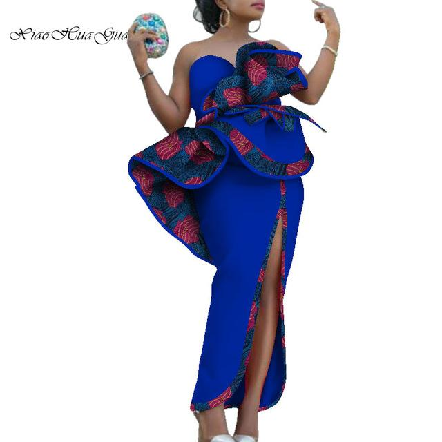 2020 New Elegant Africa Dresses for Women African Print Cotton Slash Neck Big Flower Decration Lady Evening Maxi Dress WY6311 - EM