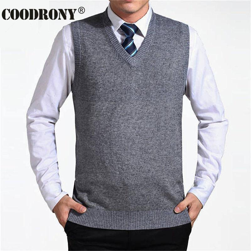 COODRONY 2020 New Arrival Solid Color Sweater Vest Men Cashmere Sweaters Wool Pullover Men Brand V-Neck Sleeveless Jersey Hombre - EM
