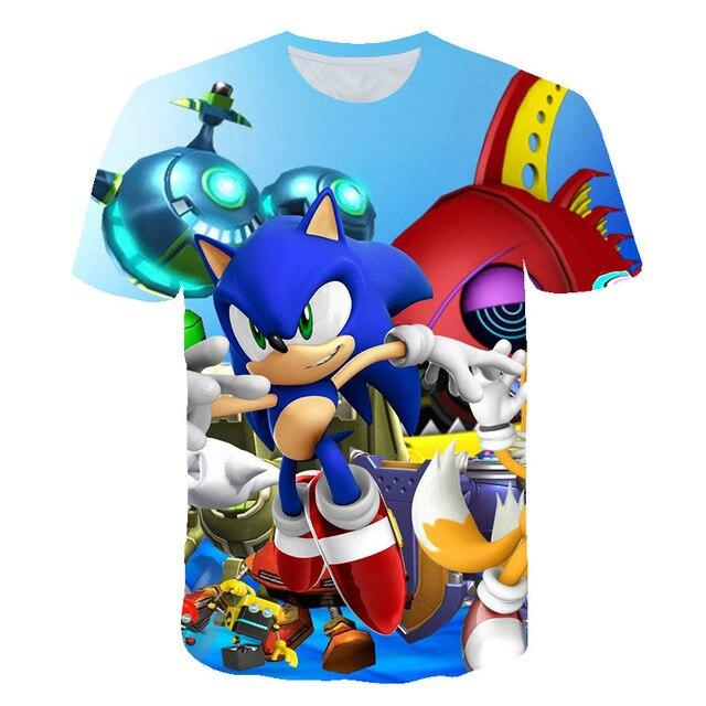 Boys Mario sonic 3D printed cartoon funny T-shirt clothing children 2020 summer clothing children's clothing T-shirt - EM