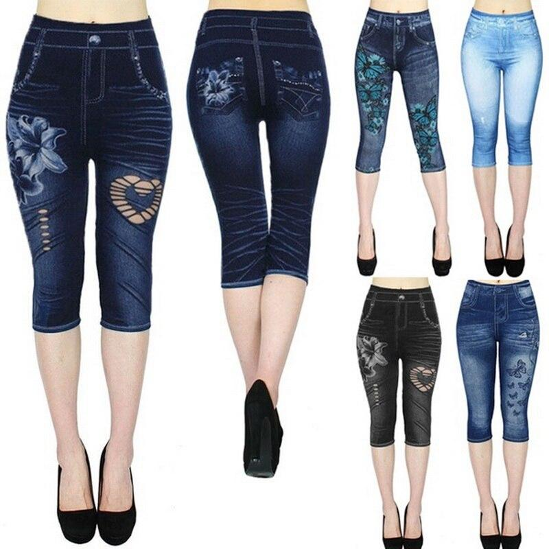 2020 Women's Leggings Jeans high Waist Printed Outwears casual half length Printed Stretch CapriPants Autumn hot fitness trouser - EM