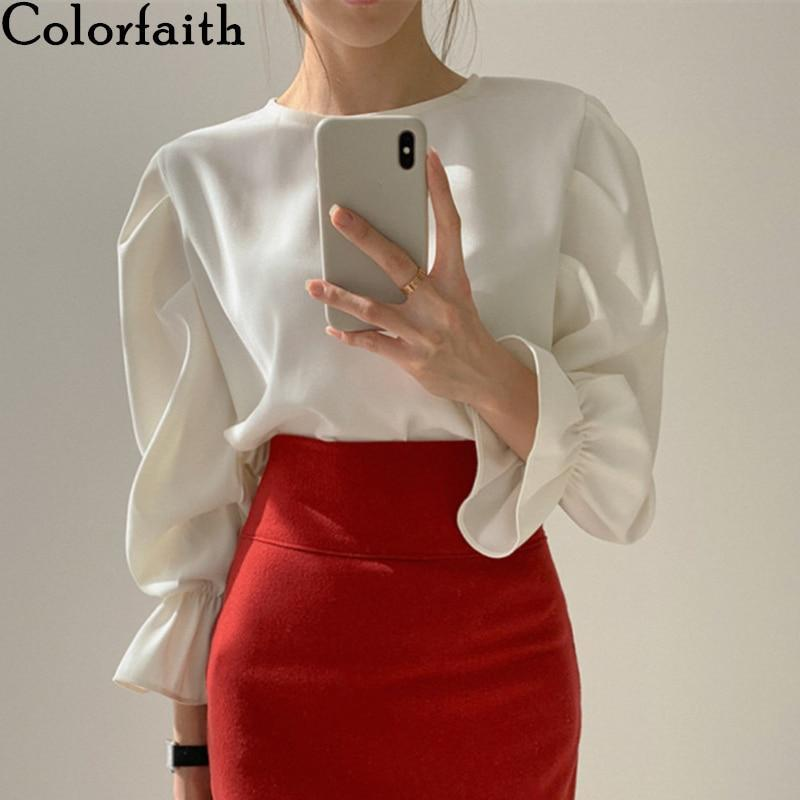 Colorfaith New 2020 Women Spring Summer Blouse Shirts Casual Vintage Elegant Pagoda Sleeve Fashionable Loose White Tops BL8805 - EM