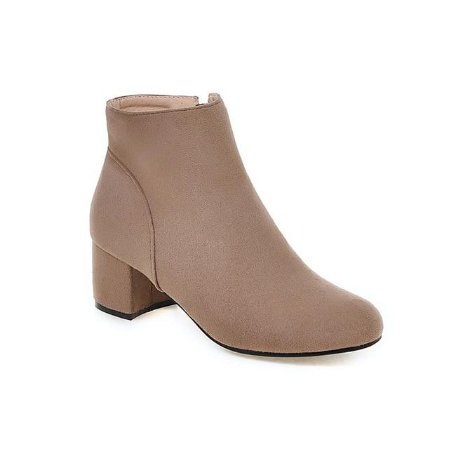 Plus Size 34-43 Solid Female Footwear Ankle Boots Casual Autumn Winter Boots Thick Heels Fashion Shoes Woman - Express Monde