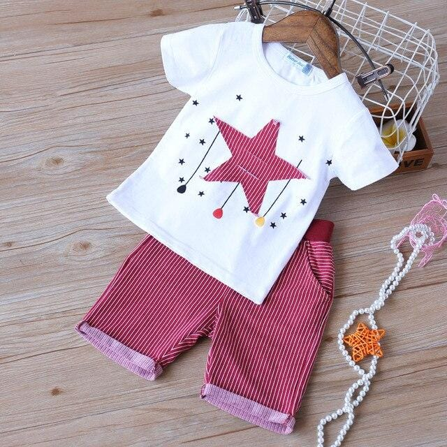 Humor Bear2020 New Boy Clothing Sets Children Clothes Plaid  Bow  Design T-shirt+ Shorts 2PCS Sets Boys New Baby Kids Clothes