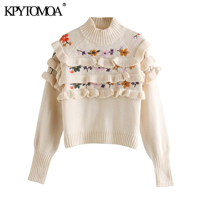 KPYTOMOA Women 2020 Fashion Floral Embroidery Ruffled Knitted Sweater Vintage High Neck Long Sleeve Female Pullovers Chic Tops - EM