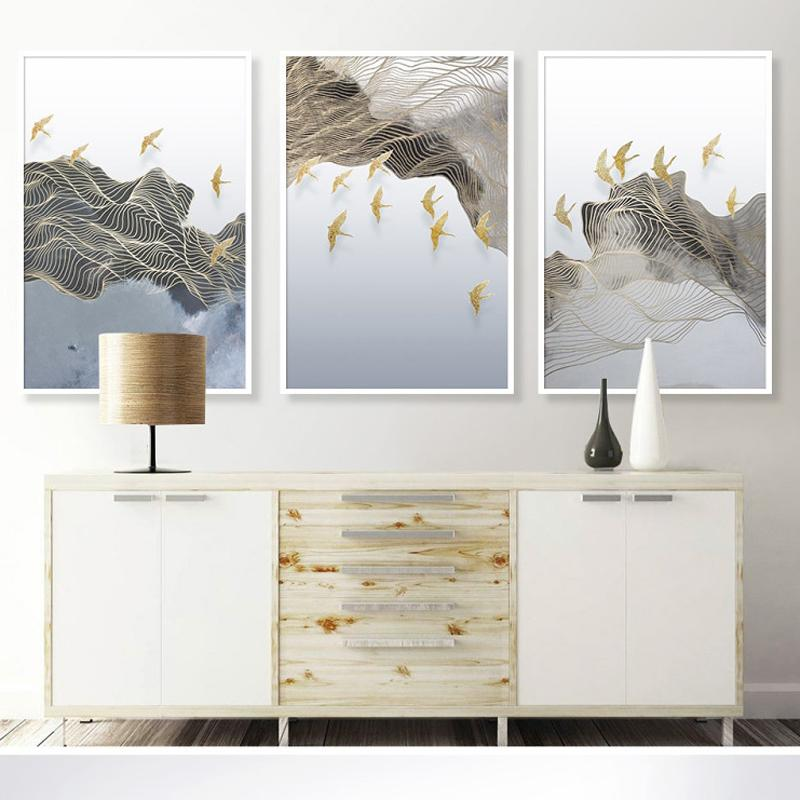 Abstract Golden Sun Line Bird Canvas Painting Flowing Big Paint Posters Tableaux Living Room Nordic Wall Art Decor Tableaux 3-23