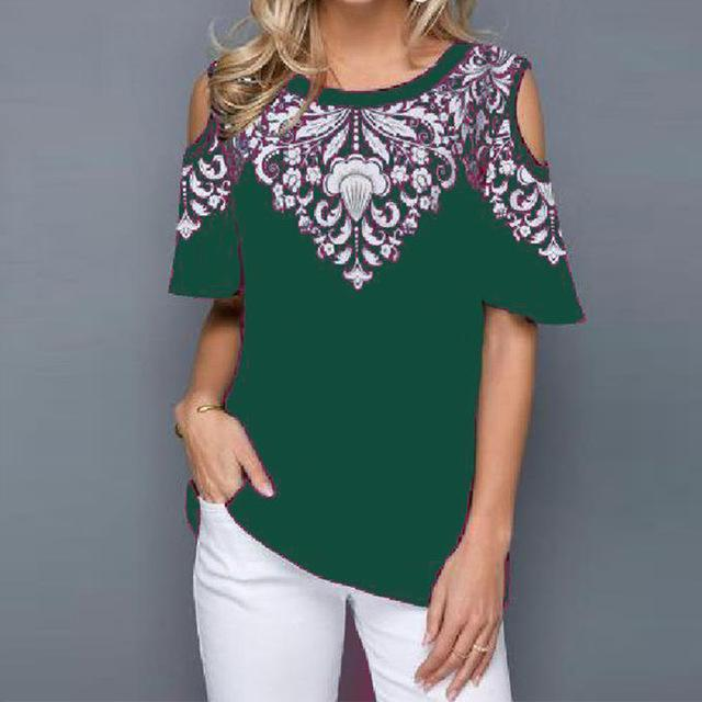 Short Flare Sleeve Print Blouse Women's Tunics Plus Size 5XL O-Neck Hollow Out Female Blouses Tops 2020 Summer Casual Lady Tunic - EM