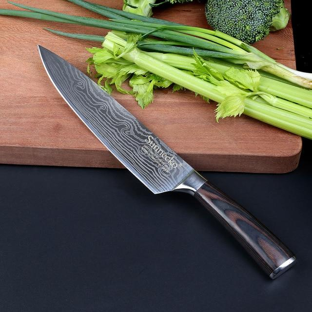 SUNNECKO 8'' inch Chef Knife Japanese Stainless Steel Sanding Laser Pattern Professional Chef's Knives Sharp Blade Cooking Tool - EM