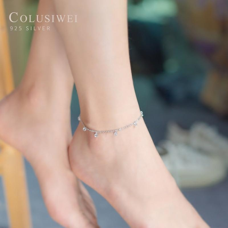 Colusiwei Silver Beads Anklets Authentic 925 Sterling Silver Summer Fashion Foot Jewelry Bracelet for Ankle Female Bijoux