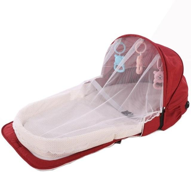 Portable Backpack Bed With Toys For Baby Foldable Baby Bed Travel Sun Protection Mosquito Net Breathable Infant Sleeping Basket - EM