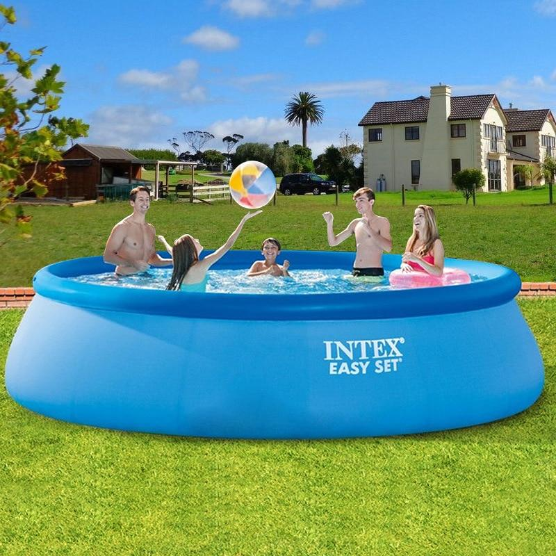 INTEX inflatable swimming pool large family adult pool piscinas grand fold fish pond heighten thickened children's paddling pool - EM