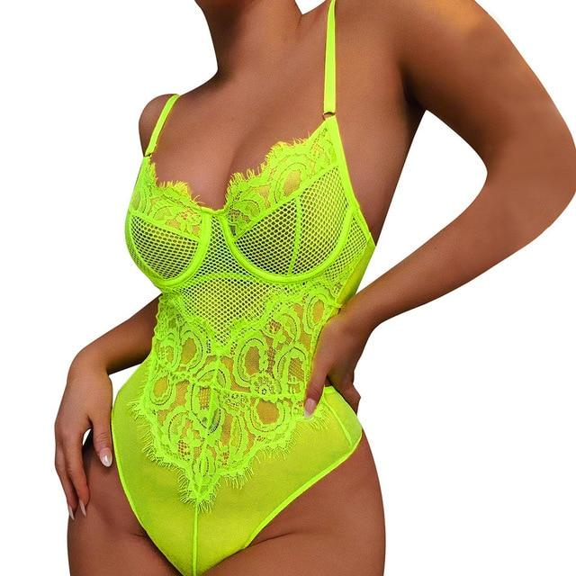 2020 Neon Green Lace Mesh Bodysuit Women Sexy Transparent Summer Backless Bodycon Overalls Female New Slim Body Suits Romper New - EM