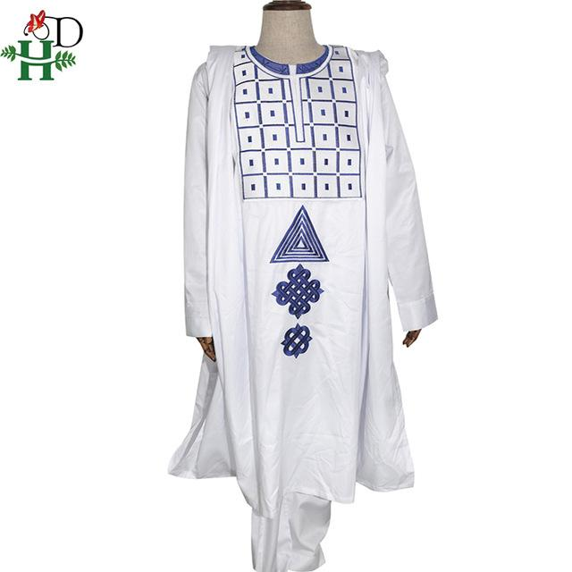 H&D 2020 agbada men african clothes long sleeve tops pants suit embroidery dashiki 3 pieces set traditional africa style attire - EM