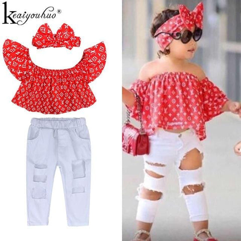2020 Baby Girl Clothes Summer Tracksuit For Children Clothing Girls Sets T-shirt+Broken Hole Jeans Kids Clothes 1 2 3 4 5 6 Year