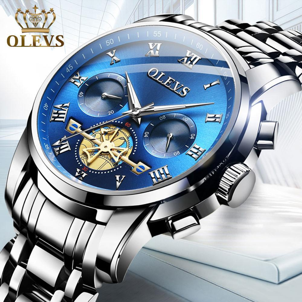 Reloj hombre Luxury Chronograph Men Watch Stainless Steel Sport Waterproof Blue Watches for Men Luminous Wristwatch Montre Homme - Express Monde