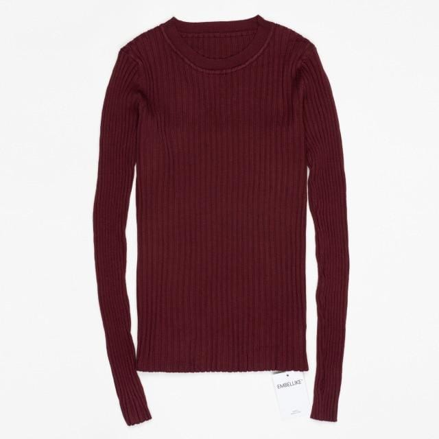 Women Sweater Pullover Basic Rib Knitted Cotton Tops Solid Crew Neck Essential Jumper Long Sleeve Sweaters With Thumb Hole - EM