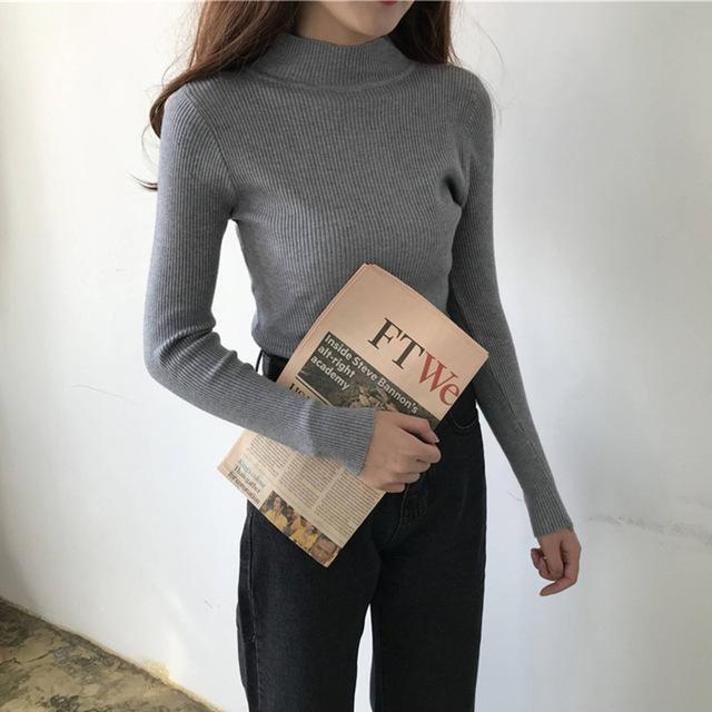 2020 Autumn Winter Women Pullovers Sweater Knitted Elasticity Casual Jumper Fashion Slim Turtleneck Warm Female Korean Tops - EM