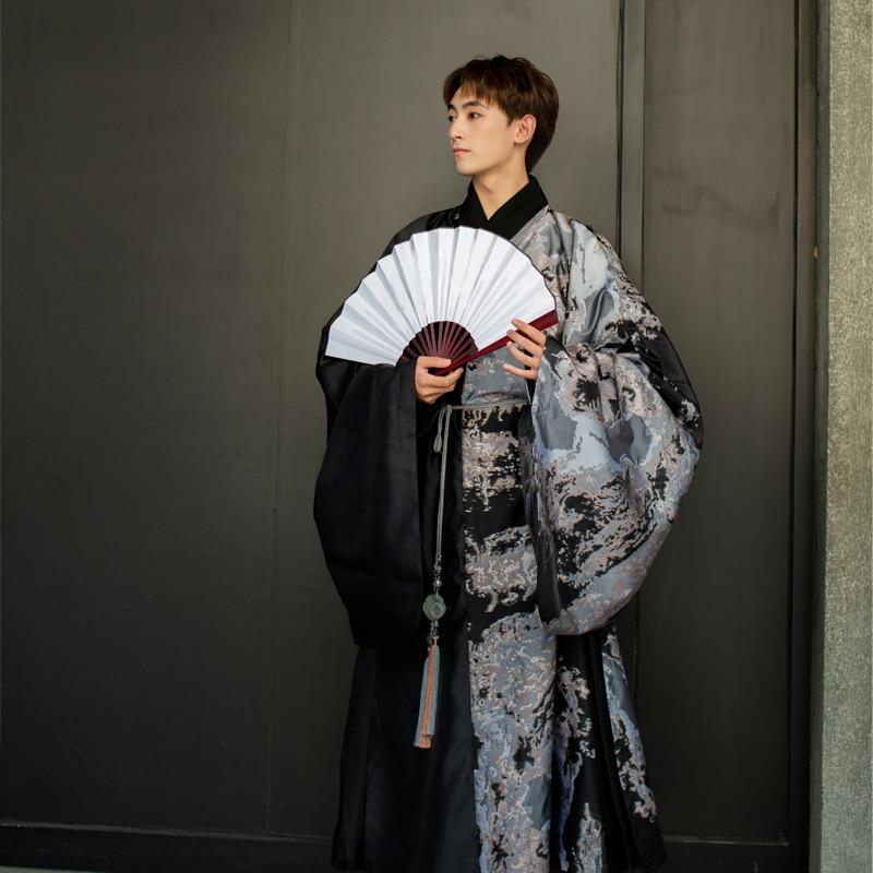 Exquisite Print Ancient China Cosplay Costume Men Hanfu Elegant Soft Chinese Clothing Cosplay Chinese Style Party Uniform Suit - EM