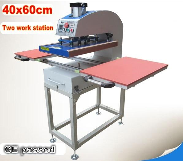 Large size pneumatic two work station heat press machine sublimation heat transfer T-shirt printing machine 60x40cm - EM