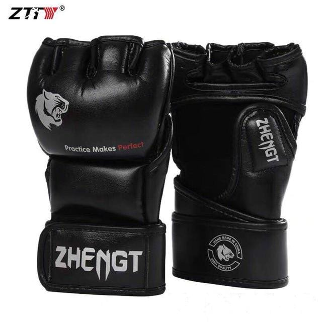 ZTTY Boxing gloves MMA High Quality PU Half Finger Fighting Gloves Muay Thai Training Competition gloves Breathable Male Adult