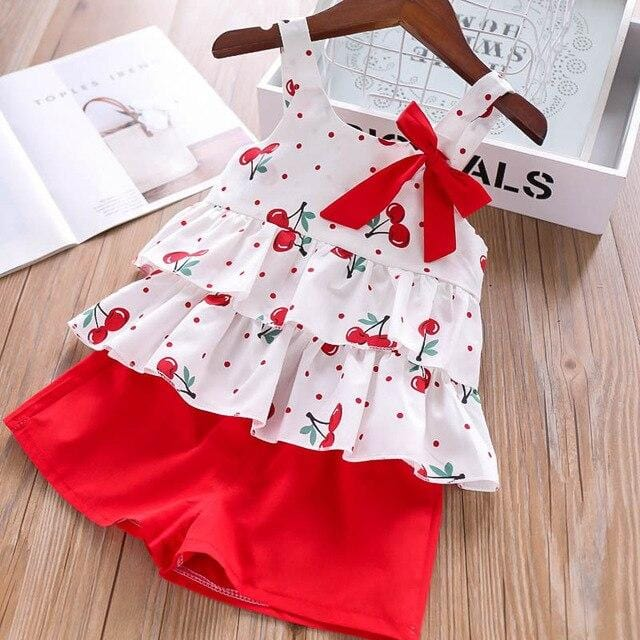 Humor Bear Girls Clothing Set Summer New Child Cute Flowers Flying Sleeves T-shirt+ Shorts Kids Suit Toddler Baby Girls Clothes