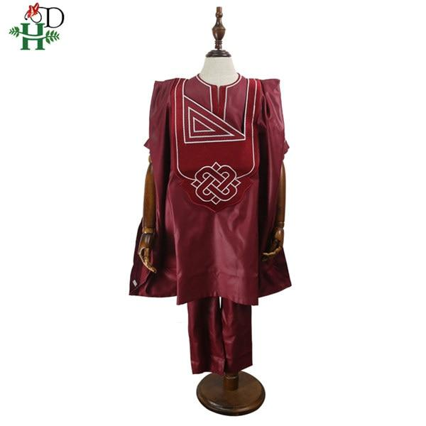 H&D no cap african children clothes dashiki shirt pant 3 pieces set son boy suits 2020 south africa kids red clothing TZ3062 - EM
