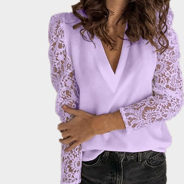 Women V-neck Lace Hollow Out Blouse Patchwork Long Sleeve White Office Ladies Blouses 2020 Summer Casual Solid Female Tops - EM