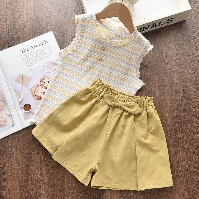 Bear Leader Girls Clothing Sets 2020 New Fashion Girls Summer Striped Clothes Outfits T-Shirt and Pants Kid Casual Clothing 2 6Y