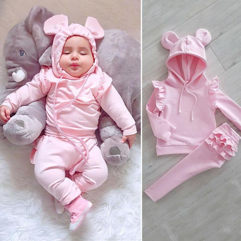 CANIS Autumn Baby Girl Tracksuit Long Sleeve Ruffles Solid Lovely Hooded Shirt Top Pants Trousers Outfit Clothes Set 0-24M - Express Monde