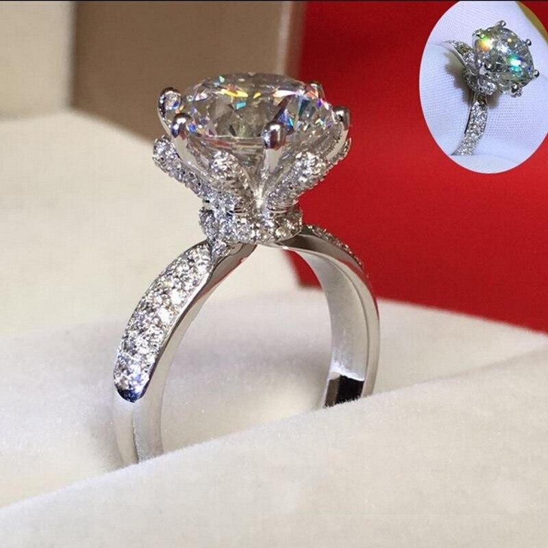 Stunning Lady Flower 3ct Lab Diamond Ring 925 sterling silver Bijou Engagement Wedding band Rings for Women Bridal Charm Jewelry