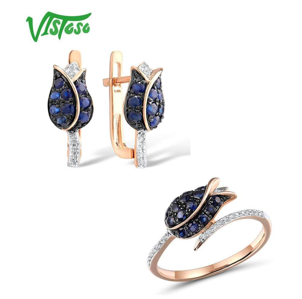 VISTOSO Jewelry Set For Woman Pure 14K 585 Rose Gold Sparkling Blue Sapphire Diamond Tulip Earrings Ring Set Fine Jewelry