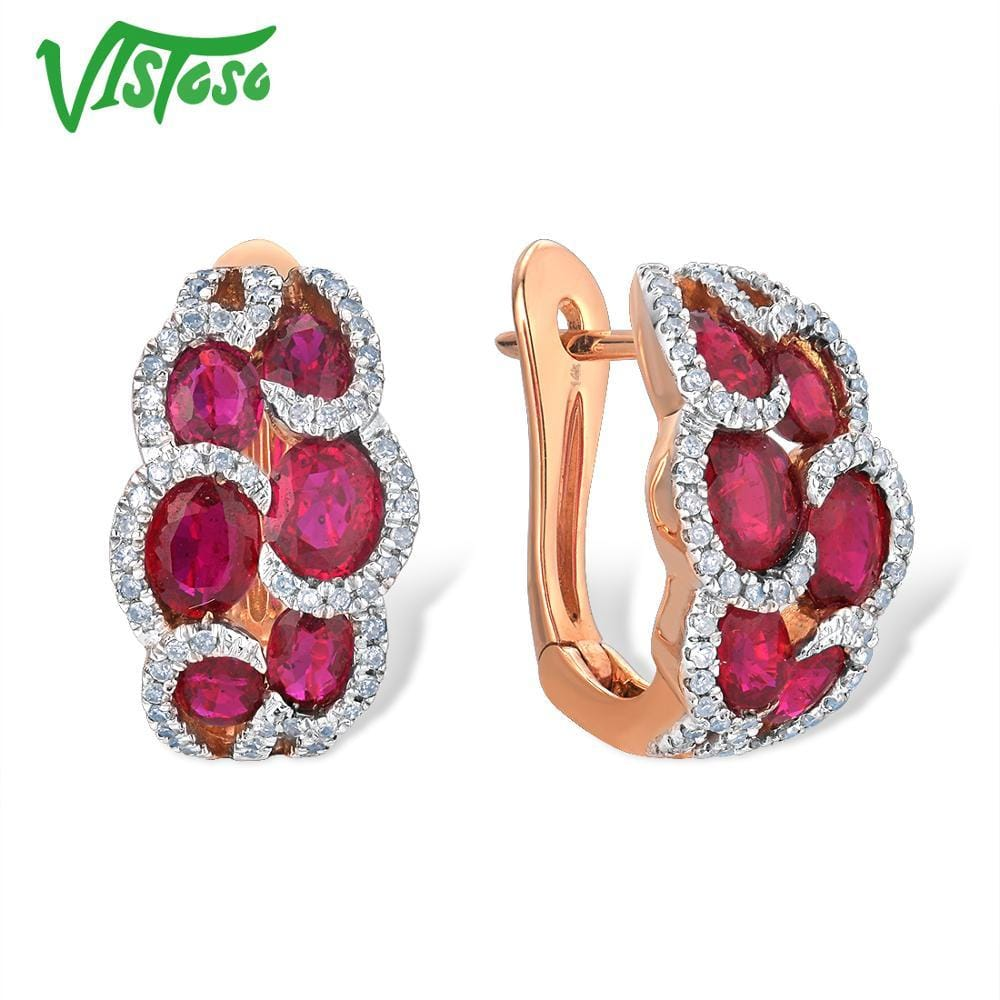 VISTOSO Genuine 14K 585 Rose Gold Earrings For Women Glamorous Fancy Ruby Sparkling Diamond Elegant Trendy Luxury Fine Jewelry