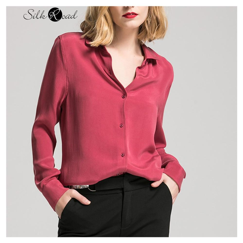 Silviye Wine red heavy weight thick silk shirt European women's long sleeve Mulberry Silk Blouse Top Vintage Western style shirt - EM