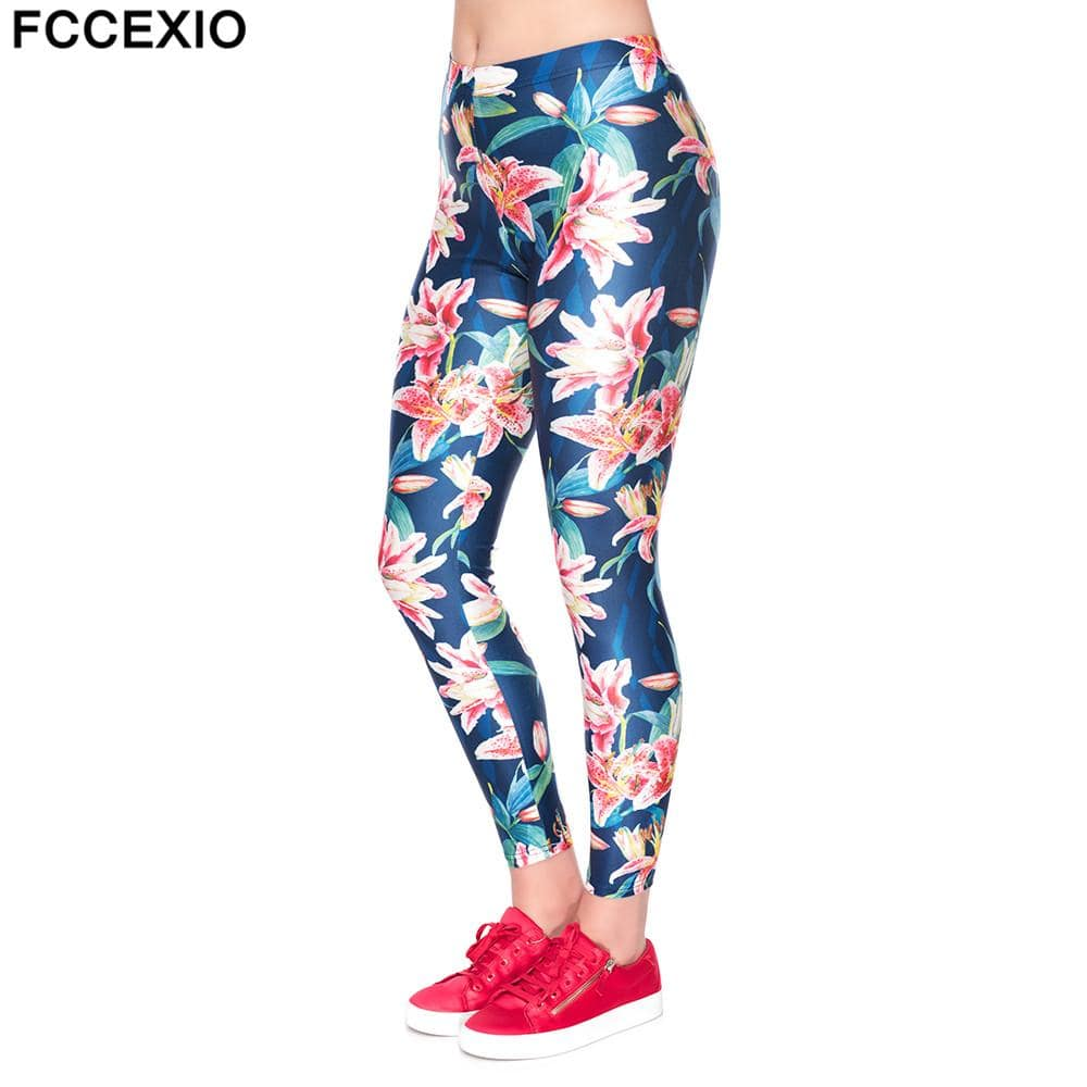 FCCEXIO 2019 New Women Fitness Leggings Workout Leggins Punk Legging Slim High Waist Pink Tropical Flowers Printed Fashion Pants - EM