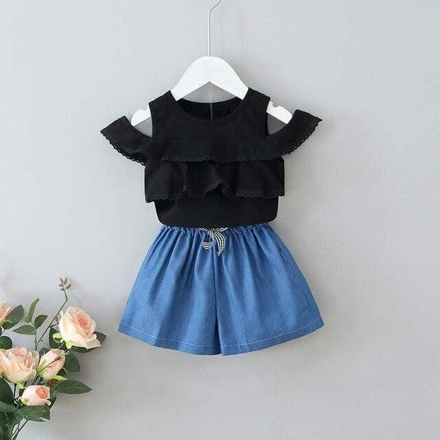 Bear Leader Girls Clothing Sets 2020 New Summer Kids Layered Hollow T-shirt and Pants Casual Outfits Children Clothing Cute Suit