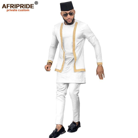 2020 African Men Clothing Set Outfit Suit 3 Pieces for Men Dashiki Shirt Ankara Pants Tribal Hat Tracksuit AFRIPRIDE A1916016