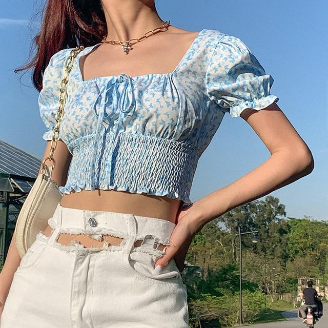 Colysmo Chiffon Print Tops Women Vintage Square Neck Short Puff Sleeve Short Blusas 2020 New Red Casual Summer Blouse Blue - EM