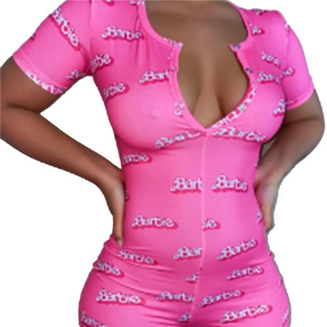 Women Sexy V-Neck Bodycon Bodysuit Casual Printed Button Sleepwear Jumpsuit Print Bodycon Sleepwear Jumpsuit - EM